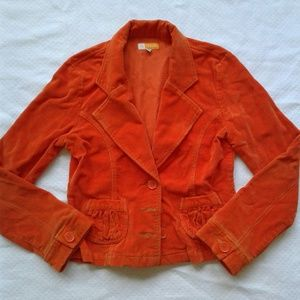 Tulle Jacket L Orange Corduroy Blazer